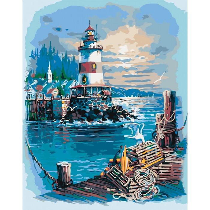 """Картина по номерам Морський пейзаж """"Тиха гавань"""" 2 40*50см"""