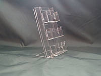 Подставка под буклеты евроформат с 3 визитницами 100*210 мм, фото 1