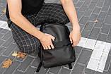 Рюкзак чоловічий шкіряний міської чорний RGB-23, фото 6