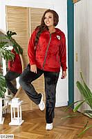 Трендовый стильный женский спортивный костюм с капюшоном размеры батал 48-58 арт 3002