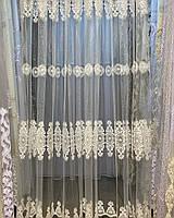 Современная тюль на сетке в кремовом цвете - коронами, Турция. Эффектная для гостиной , спальни .