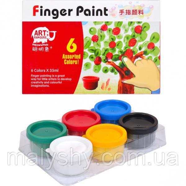 Гуашь пальчиковая 6 цветов по 35 мл / Фарби пальчикові 6 кольорів