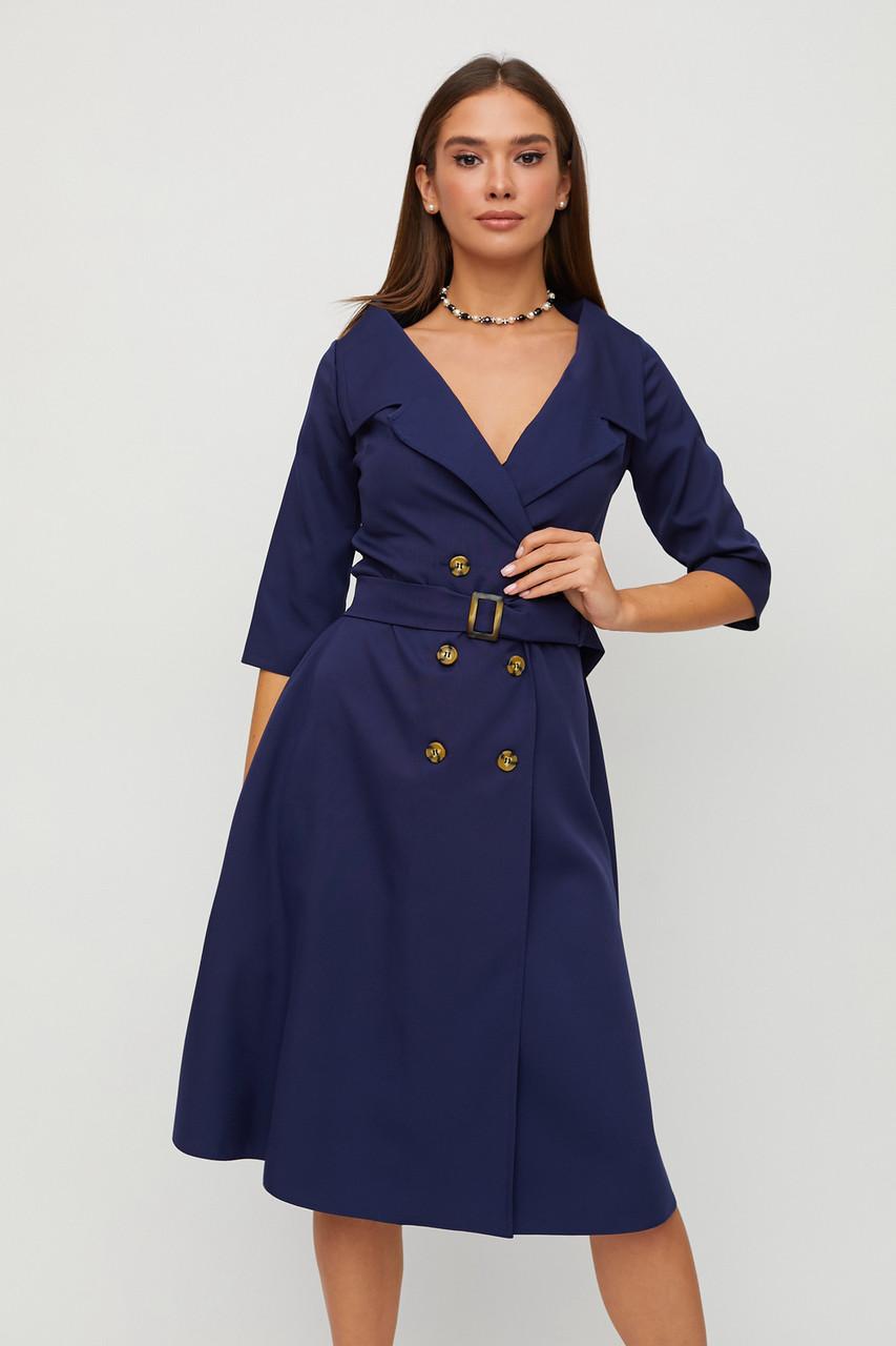 Сукня темно-синє офісне А-силуету на гудзиках