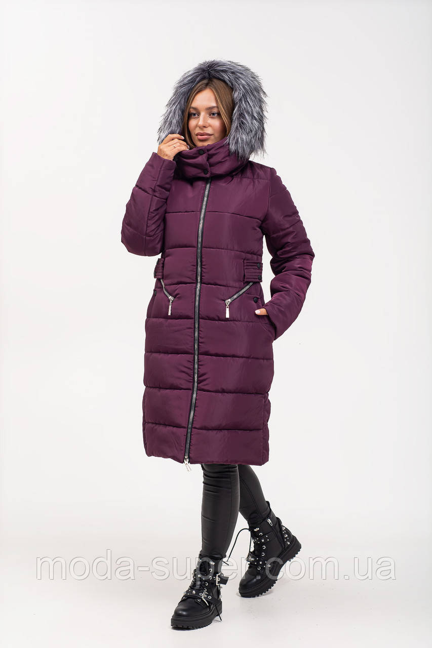 Приталенная зимняя куртка с эко-мехом рр 46-56