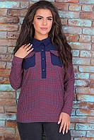 """Блузка женская полубатальная с принтом,софт-коттон, размеры 52-56 (3цв)""""ASTRA"""" недорого от прямого поставщика"""