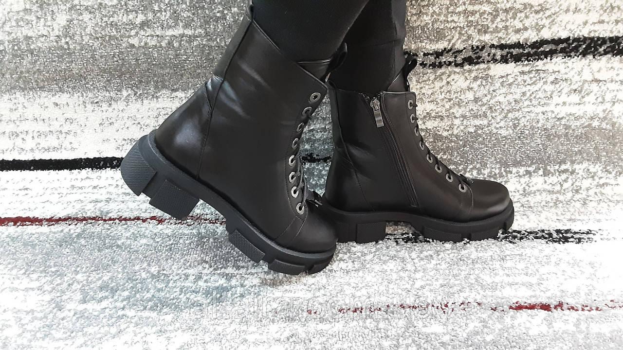 Модные женские демисезонные черные ботинки из натуральной кожи. Размер 36-41.