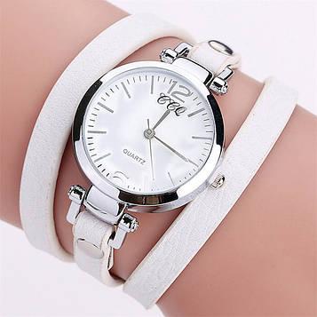 Наручний жіночий годинник з білим ремінцем код 306