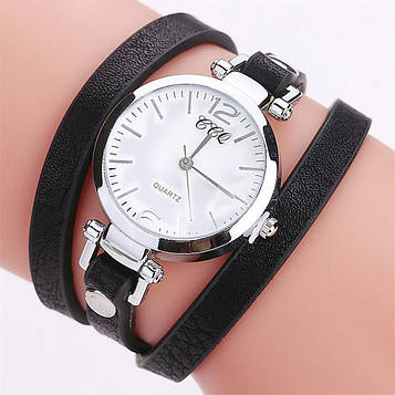 Наручний жіночий годинник з чорним ремінцем код 306