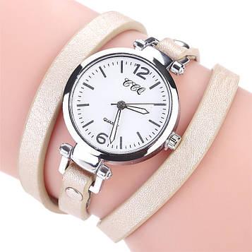 Наручний жіночий годинник з кремовим ремінцем код 306