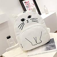 Белый детский рюкзак с ушками с принтом кота   Городской рюкзак игрушка кошка модный молодежный