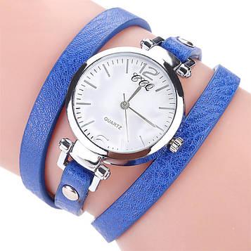 Наручний жіночий годинник з синім ремінцем код 306