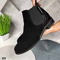 Замшевые ботинки челси на небольшом каблучке, фото 1