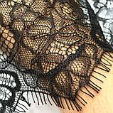Ажурне французьке мереживо шантильї (з віями) чорного кольору шириною 30 см, довжина купона 2,9 м., фото 6
