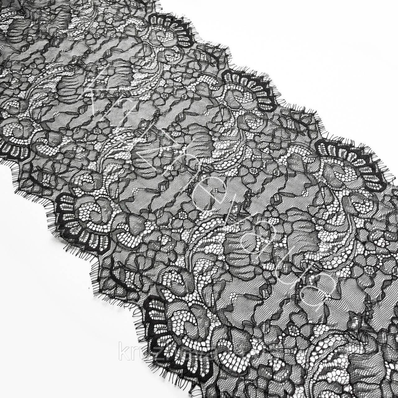 Ажурне французьке мереживо шантильї (з віями) чорного кольору шириною 30 см, довжина купона 2,9 м.