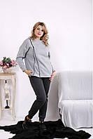 Утепленный двухцветный серый спортивный костюм стильный для полных женщин 42-74. 01619-5