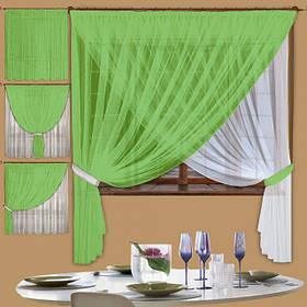 Кухонные шторы из тюля цвет салатовая