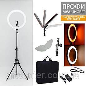Лампа светодиодная для визажиста, лампа для фотографа (модель Мультисвет ПРОФИ LED) 96ВТ 48СМ + штатив 200см