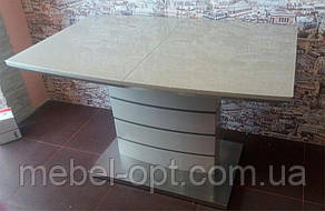 Стол обеденный ТМ-50-1 капучино - латте, каленое глянцевое стекло 120-160х80х76Н