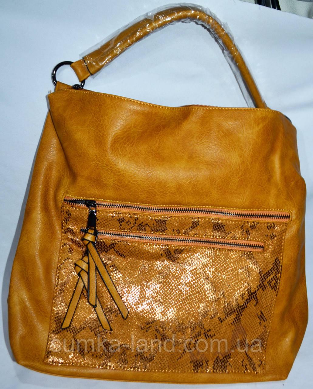 Женская оранжевая сумка на плечо со вставкой из лазерной кожи 35*34 см
