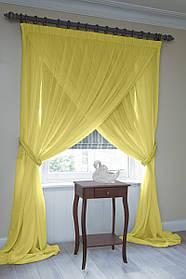 Скрещенные шторы для кухни из тюля желтый