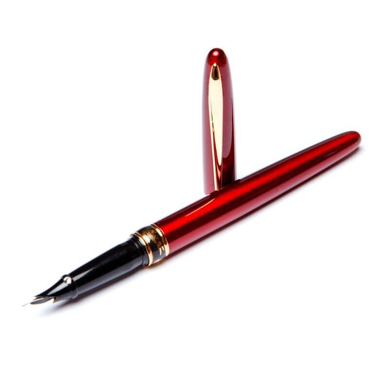 Перьевая ручка в подарок женщине Crocоdile 200033 красный корпус в подарочной упаковке