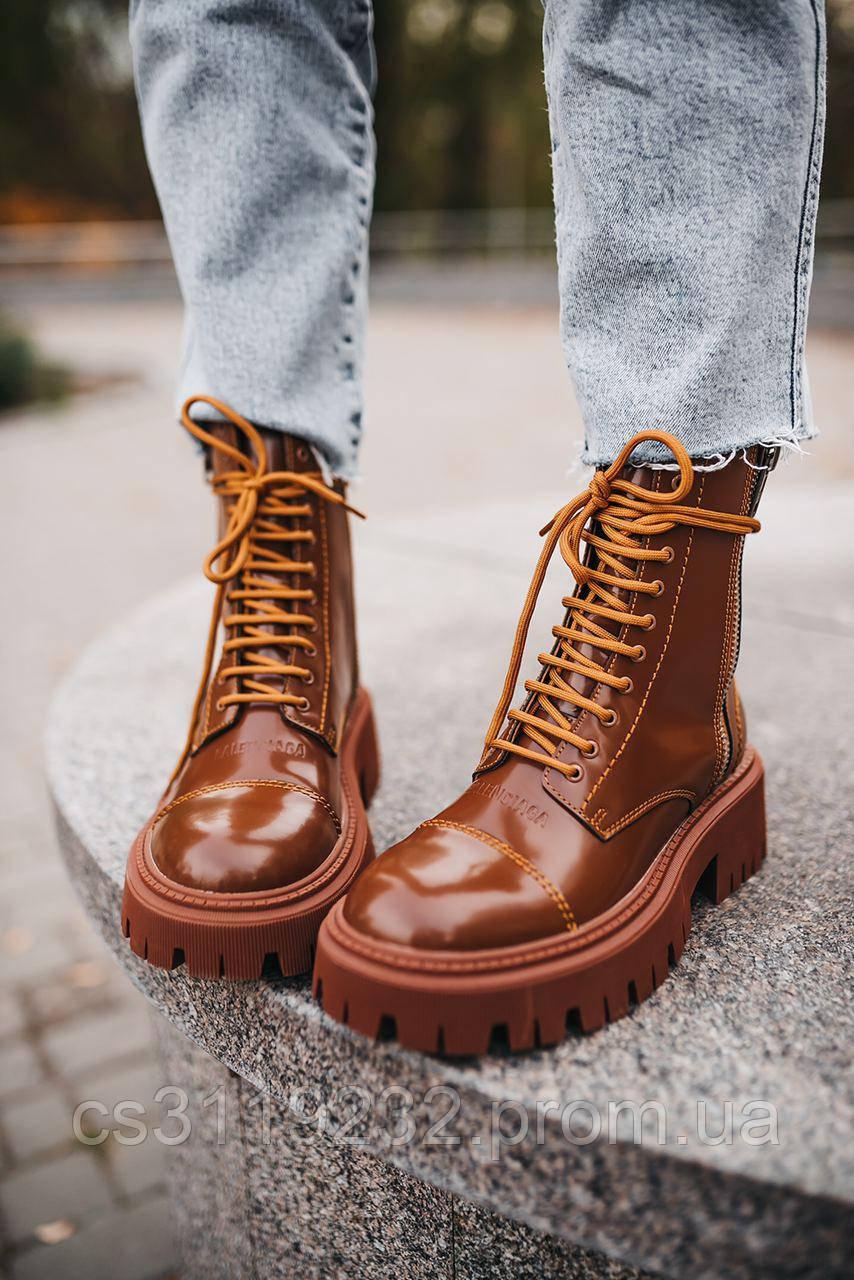 Женские ботинки Balenciaga Boots Tractor Brown демисезонные (коричневые)