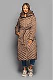 Стьобане довге пальто з поясом KTL-412 єврозима, фото 7