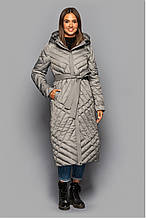 Стьобане довге пальто з поясом KTL-412 єврозима