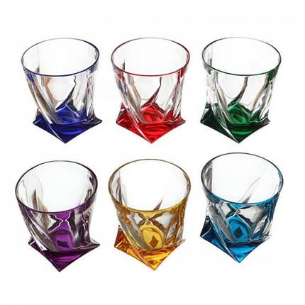 Набор стаканов для виски цветные Bohemia Quadro 99999/72R93/932 340 мл 6 шт, фото 2