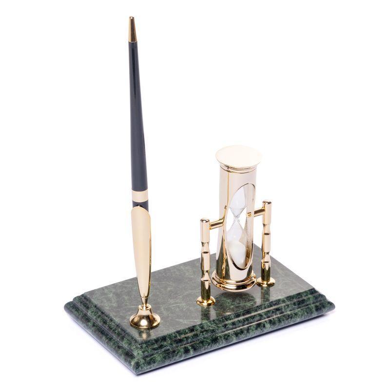 Подставка настольная BST 540024 16х10 с песочными часами и ручкой мраморная