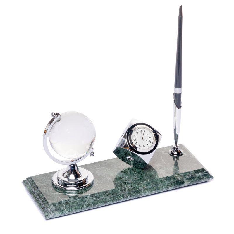 Подставка настольная с часами BST 540039 24х10 глобусом и ручкой мраморная