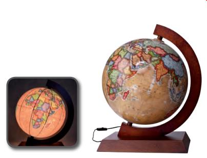 Глобус с подсветкой настольный на деревянной подставке 320 мм ретро (рус.) BST 540141