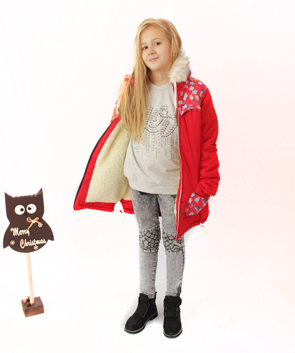 Пальто дитяче зимовий на овчині для дівчинки Рукавичка