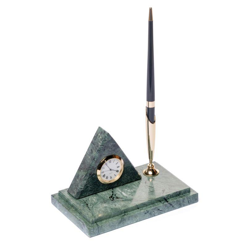 Подставка на стол с часами для ручки BST 540018 16х10 мраморная Пирамида