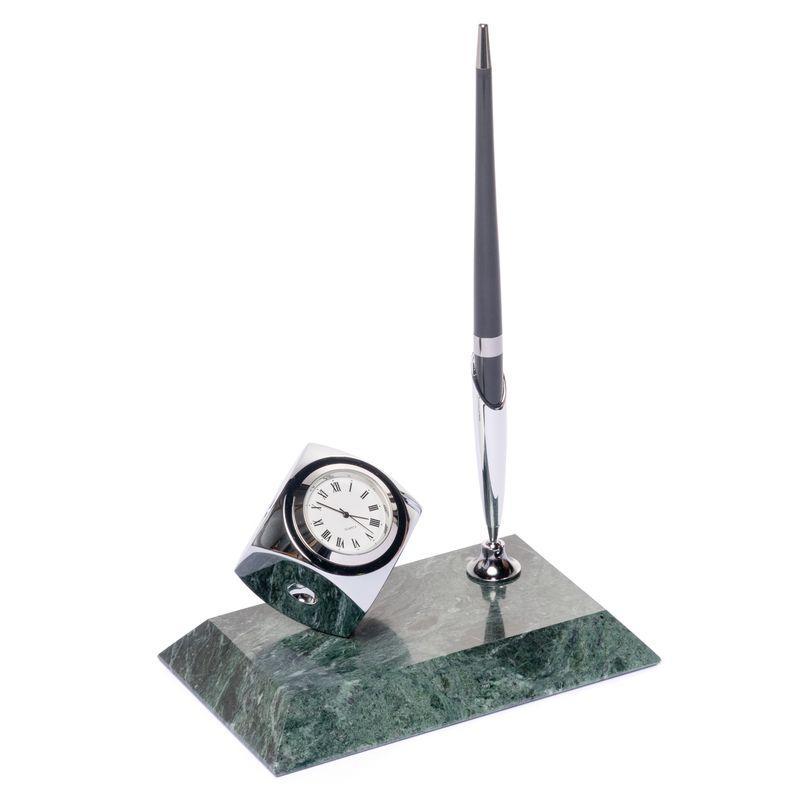 Подставка для ручки BST 540020 16х10 с часами из мрамора