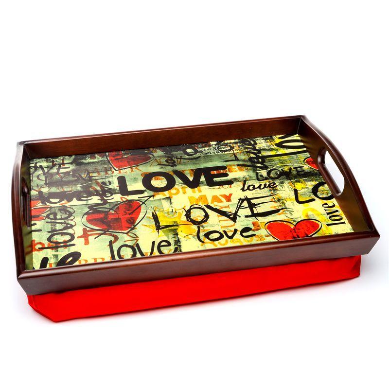 Поднос на подушке с ручками BST 710049 48*33 коричнево-красный Весенняя любовь