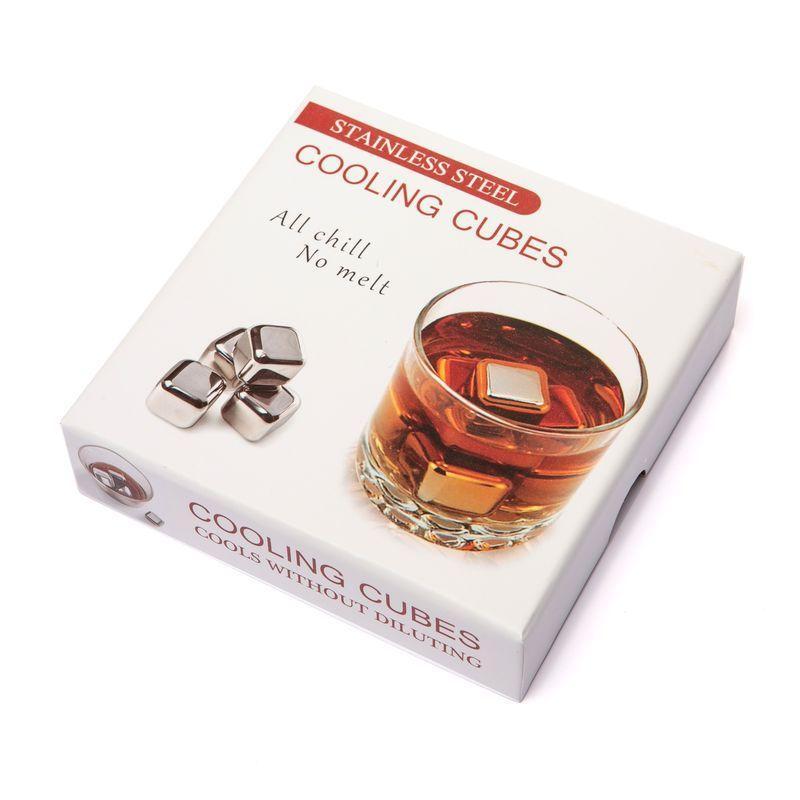 Камни кубики для виски металлические 4 шт в подарочной коробке Decanto 980020