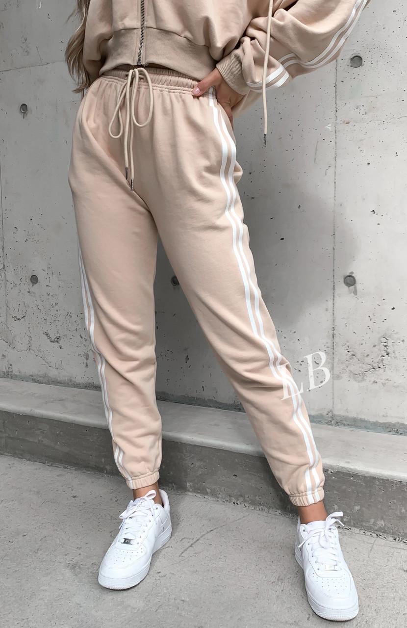 Спортивные штаны женские флисовые чёрный, бежевый, 42-44, 46-48