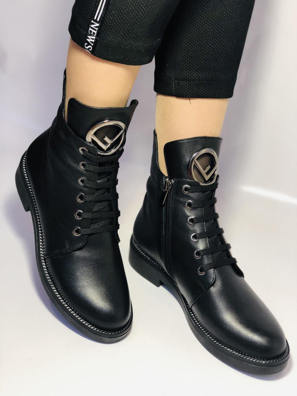 Жіночі осінні черевики на низькому каблуці. Натуральна шкіра.Туреччина. Alvito. р. 36-40. Vellena