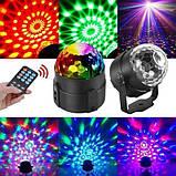 Світлодіодний диско куля з пультом управління, датчиком звуку Led Party Light від мережі 220В (RD-72007), фото 9