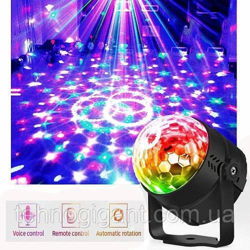Світлодіодний диско куля з пультом управління, датчиком звуку Led Party Light від мережі 220В (RD-72007)
