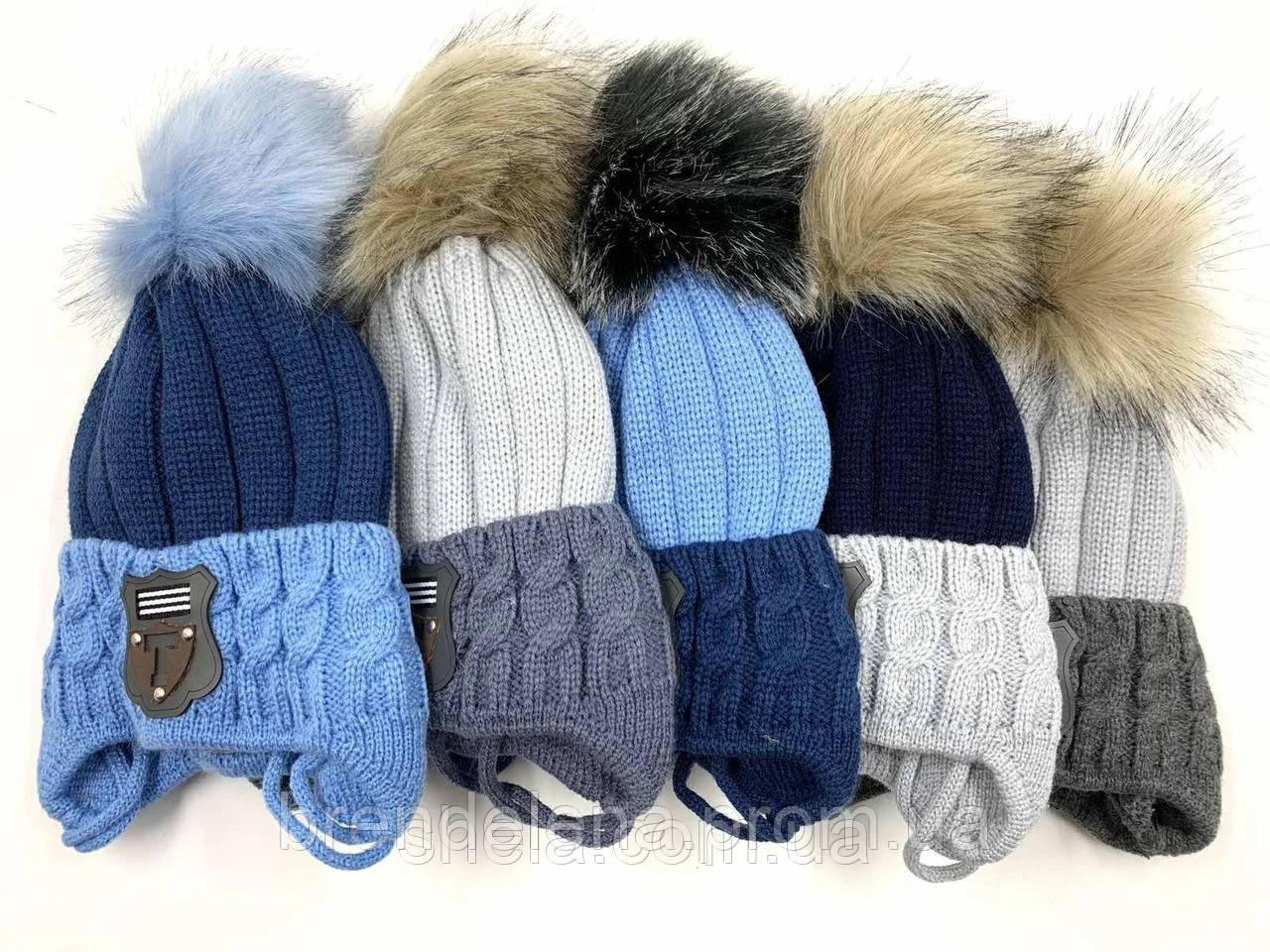 Детская  вязанная шапка  с завязками на флисе (1-3 года)