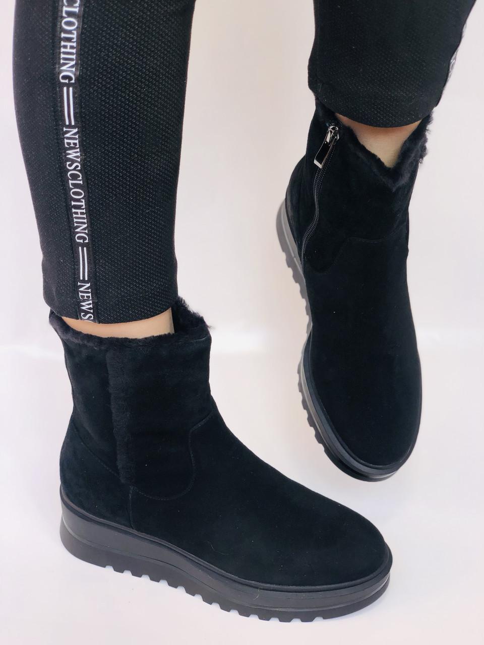 Натуральный мех. Люкс качество. Женские зимние ботинки. Натуральная замша. Berkonty. Р.37-39