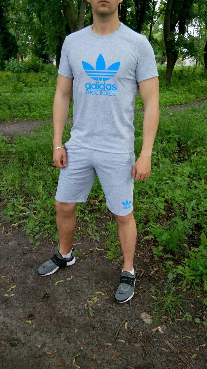 Мужская футболка и шорты Адидас, трикотажная