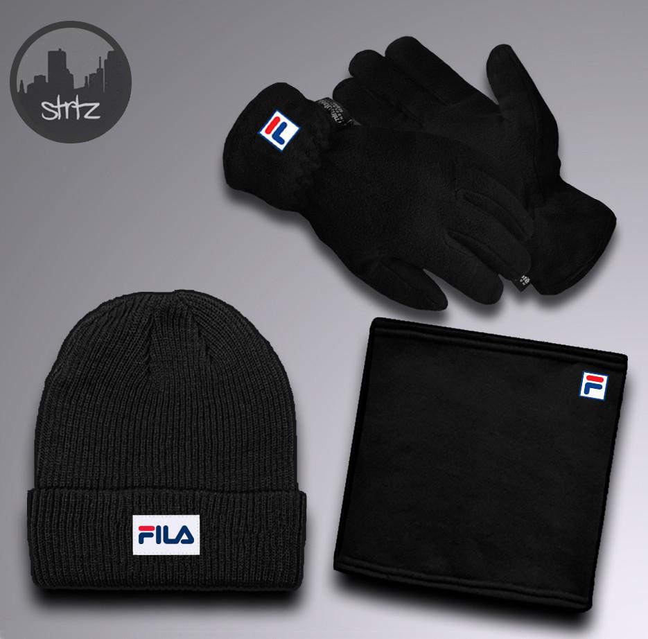 Мужской теплый комплект шапка перчатки и бафф Фила, отличного качества