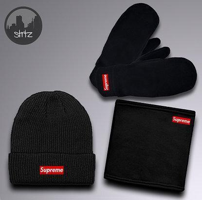 Мужской теплый комплект шапка перчатки и бафф Суприм, отличного качества