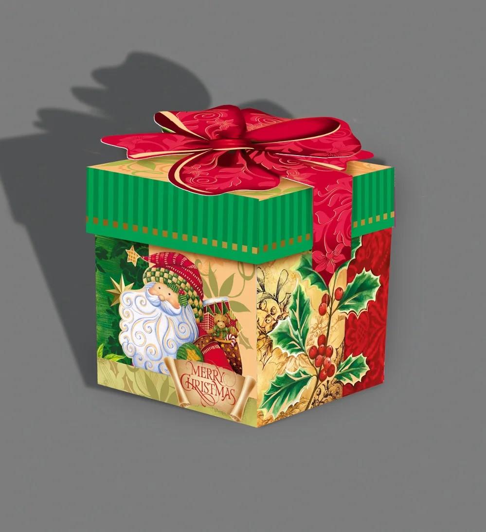 Упаковка святкова новорічна з металізованого картону Кубик з бантом, 300г