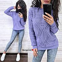 Жіночий в'язаний светр з шерстю і візерунковим плетивом (р. 42-46) 9KF960, фото 1