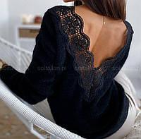 Женский ангоровый теплый свитер с вырезом и кружевом на спине (р. 42-46) 79KF970, фото 1