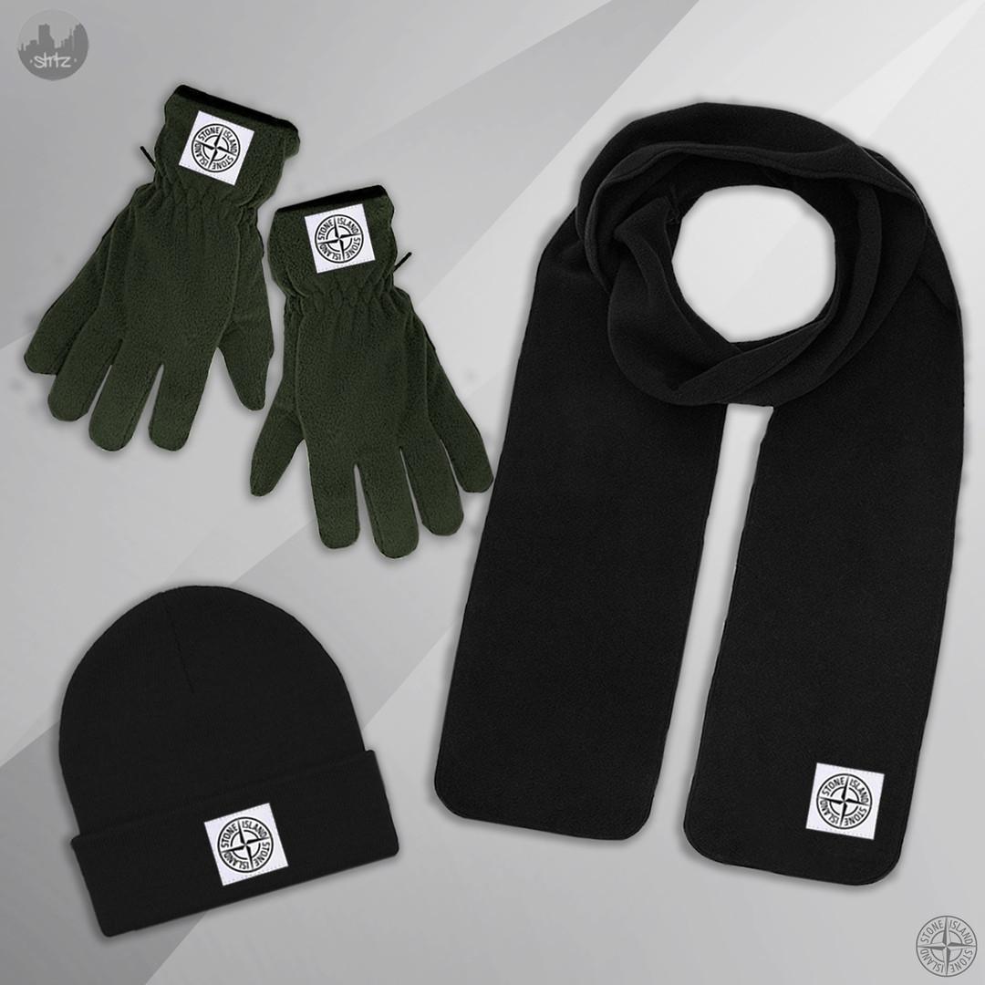 Мужская шапка шарф и перчатки Стон Айланд, отличного качества